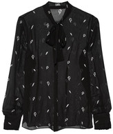Karl Lagerfeld Pussy-bow Printed Chiffon Blouse - Black