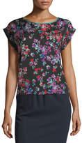 Emporio Armani Floral-Print Crewneck Cap-Sleeve Blouse