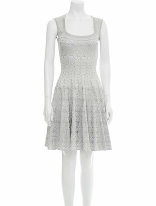 Alaia Square Neckline Mini Dress w/ Tags Silver