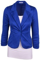 Dantiya Women's Solid Colors Plus Size One button Casual Blazer XL