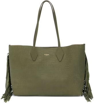 Balmain Medium Crocodile-Printed Leather Tote Bag