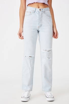 Supre High Rise Straight Ripped Jean