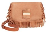 See by Chloe 'Medium Paige' Fringe Leather & Suede Clutch - Brown