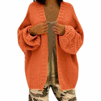 Lazzboy Women Cardigan Coat Knitted Casual Loose Solid Oversize Batwing Long Sleeve Sweater Jacket Parka Outwear (M(8)