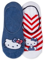 Hello Kitty Women's 2-Pack Liner Socks - Red/White/Blue One Size