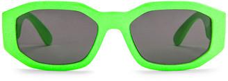 Versace Medusa Biggie Sunglasses in Green Fluo   FWRD
