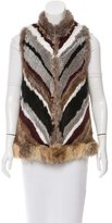 Elizabeth and James Colorblock Fur Vest