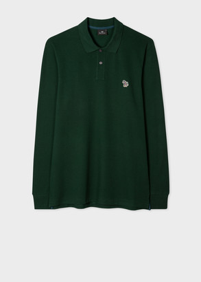 Paul Smith Men's Dark Green Organic-Cotton Zebra Logo Long-Sleeve Polo Shirt