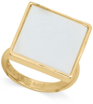 Lucky Brand Gold-Tone Mother-of-Pearl Square Statement Ring