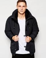 Franklin & Marshall Parka With Fleece Lined Hood - Black