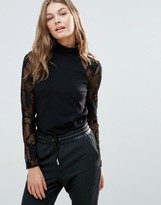 Only New Cinderell Lace Long Sleeve High Neck Top