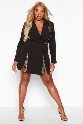 boohoo Plus Lace Panel Blazer Dress