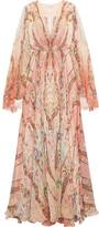 Etro Printed Silk-chiffon Gown - Pink