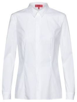 HUGO BOSS Stretch-cotton slim-fit blouse with lace-tape trim