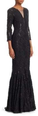 Talbot Runhof Women's Sequin Lace Mermaid Gown - Black - Size 4
