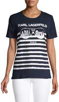 Karl Lagerfeld Paris Stripe and Sunglasses Print Graphic T-Shirt