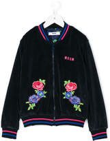 MSGM floral embroidered velour jacket