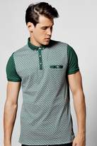 boohoo Geo Front Button Down Jersey Polo green