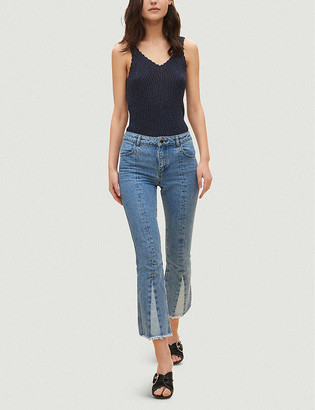 Claudie Pierlot Two-tone cropped flared mid-rise jeans