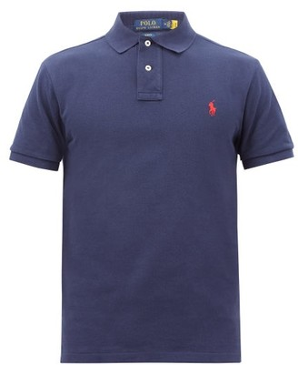 Polo Ralph Lauren Logo-embroidered Cotton-pique Polo Shirt - Navy