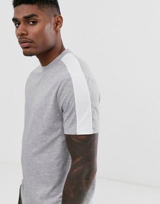 Asos Design DESIGN t-shirt with side panel stripe in grey marl