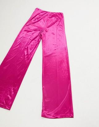 Aq/Aq AQAQ high waist velvet trousers in fuschia