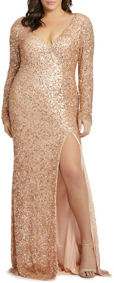 Mac Duggal Plus Size Sequin Long-Sleeve Double V-Neck Gown w/ Slit