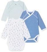 Petit Bateau Set of 3 newborn baby boy bodysuits