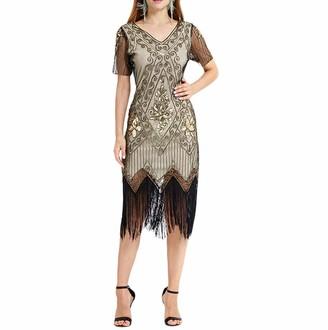 KaloryWee Ladies Dress Sale 2019 Women Vintage 1920s Bead Fringe Sequin Lace Party Flapper Cocktail Prom Dress Red