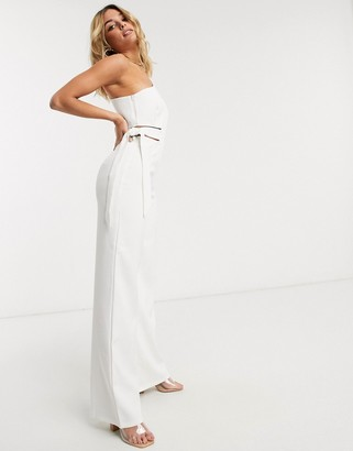4th + Reckless one shoulder jumpsuit with tie side detail in white
