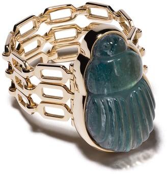 Lito 14kt yellow gold big Sienna labradorite scarab and diamond triple chain ring