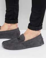 Ted Baker Carlsun Loafers In Gray Suede