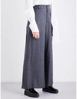 MOOHONG Pleated wide high-rise wool trousers