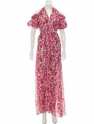 Raquel Diniz Silk Floral Dress Tan