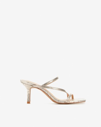 Express Metallic Strappy Heeled Sandals