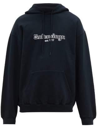 Balenciaga Embroidered Logo Cotton Hooded Sweatshirt - Mens - Navy White