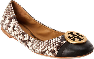 Tory Burch Minnie Cap-Toe Snake-Embossed Leather Ballet Flat