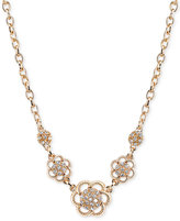 2028 Gold-Tone Crystal Flower Collar Necklace