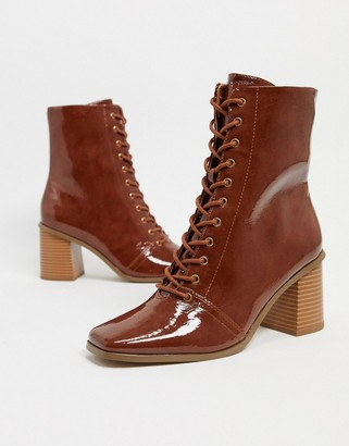 ASOS DESIGN Rylee square toe lace up boots in tan patent