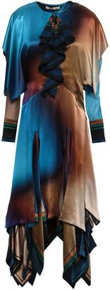 Roberto Cavalli Tiered Color-block Silk-satin Midi Dress