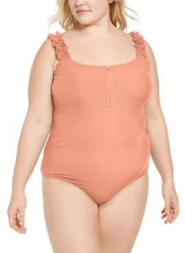 Full Circle Trends Trendy Plus Size Ruffled-Strap Bodysuit