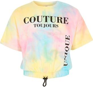 River Island Girls pink tie dye printed drawstring T-shirt