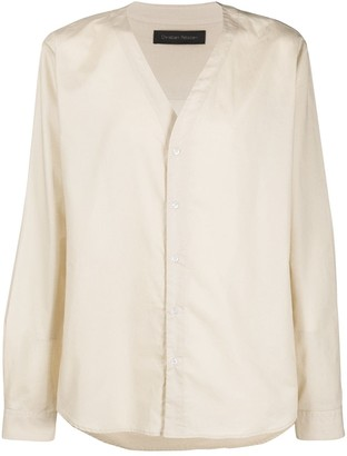 Christian Pellizzari Collarless Cotton Shirt