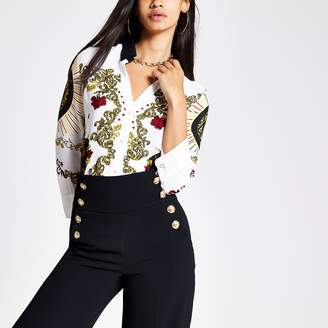 River Island Womens White print V neck fitted long sleeve shirt
