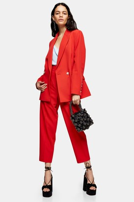 Topshop Womens Red Suit Trousers - Red