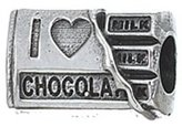 Zable I Love Chocolate Food Drink Sterling Silver Charm