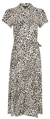 Dorothy Perkins Womens Multi Colour Leopard Print Tie Front Shirt Dress