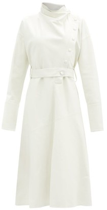 Ellery Vesuvio Stand-collar Supple-leather Midi Dress - Ivory