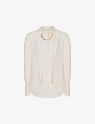 Reiss Amanda chain-embellished crepe blouse