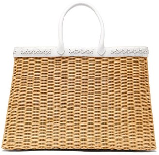 Sparrows Weave - The Tote Large Wicker And Leather Basket Bag - White Multi